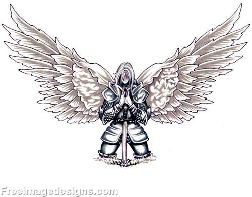 Knight With Wings Kneeling Tribal Image Download Free Tattoo Designs  FreeImageDesignsCom