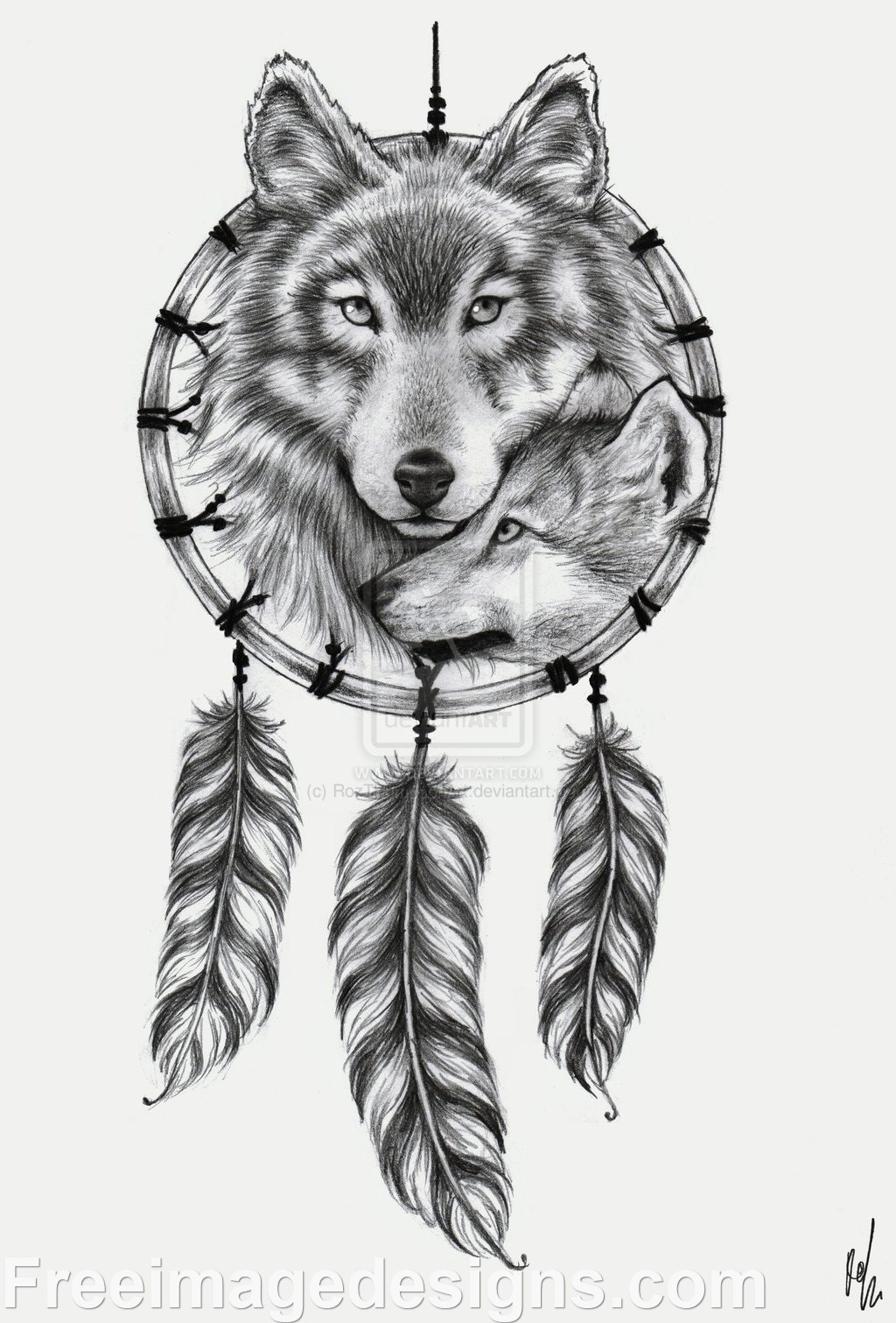 wolf dream catcher image design download free image tattoo designs freeimagedesigns com. Black Bedroom Furniture Sets. Home Design Ideas