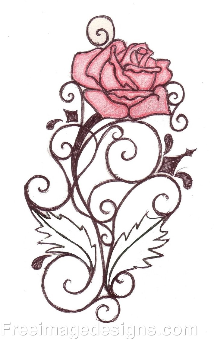Flower designs archives freeimagedesigns com for Cool rose drawings